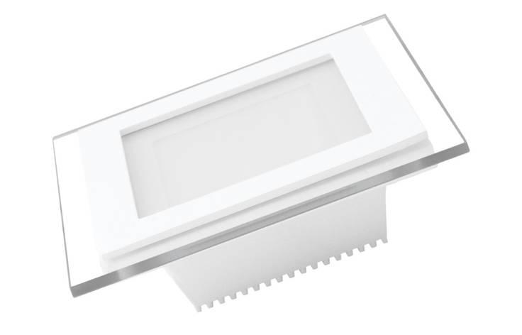 LED Светильник EUROLAMP квадратный GLASS Downlight 6W 3000K, фото 2