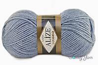 Турецкая пряжа Alize Lanagold полушерсть светлый джинс №221