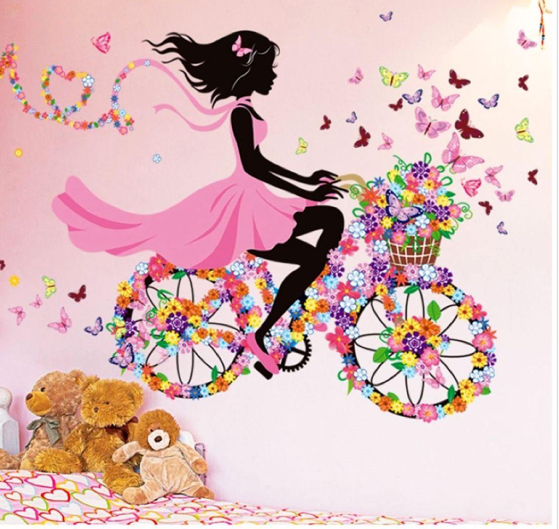 Наклейка девочка на велосипеде 1550х780 мм