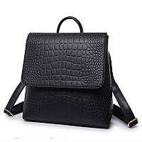 Рюкзак сумка с клапаном под кожу крокодила