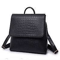 Рюкзак сумка женский с клапаном под кожу крокодила (черный), фото 1