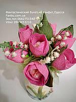 """Небольшой романтический букет из тюльпанов и конфет""""улыбка"""""""