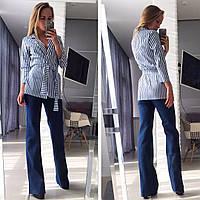 Костюм женский двойка, Пиджак +джинсы клёш Ткань:джинс, фото реал супер качество аиван № 4496