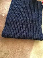 Шарф женский вязанный синий с люрексом ручной вязки