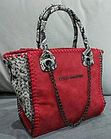 Женская сумка красного цвета Stella McCartn... Материал эко замш. Размер 23х22.