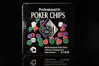 Набор для покера на 100 фишек в металлической коробке+2 колоды карт