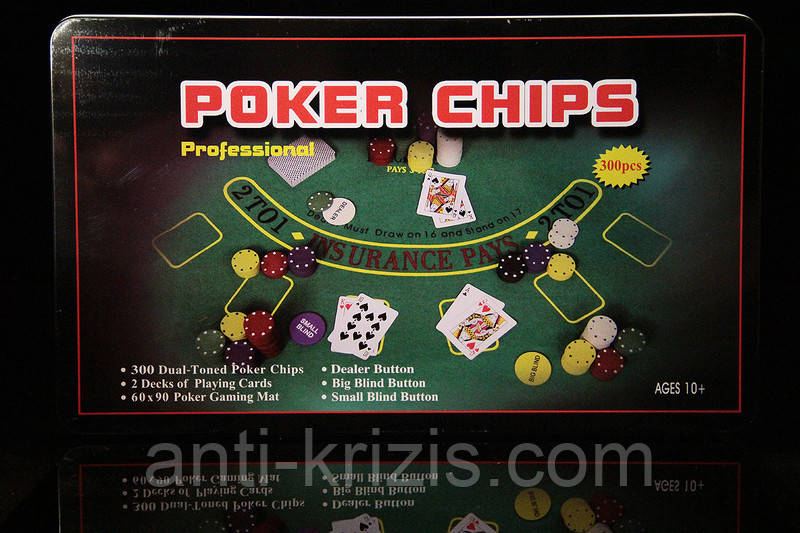 Набор для покера на 300 фишек с сукном в металлической коробке+колода карт