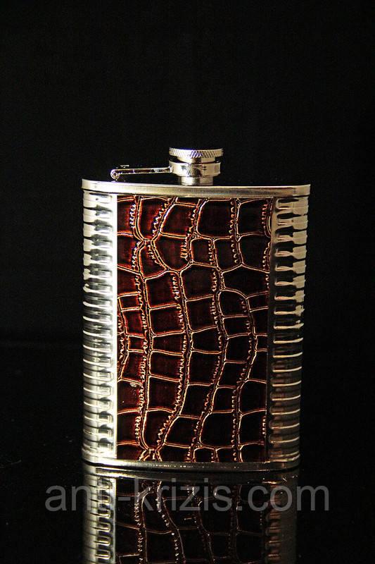 Кожаная фляга с металлом на 240 мл № 2