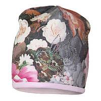 Трикотажная шапочка для девочки с красивым цветочным принтом