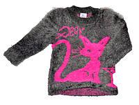 Детский серый свитер-травка для девочки