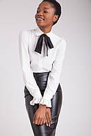 Стильная белая женская блузка с черной повязкой , фото 1
