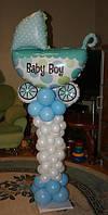 Стойка из воздушных шаров с фольгированной коляской