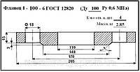 Фланец по  ГОСТ 12820-80  1-100-6 ст.20