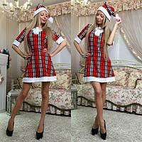 Женское платье Снегурочка с шапочкой  клетка красная