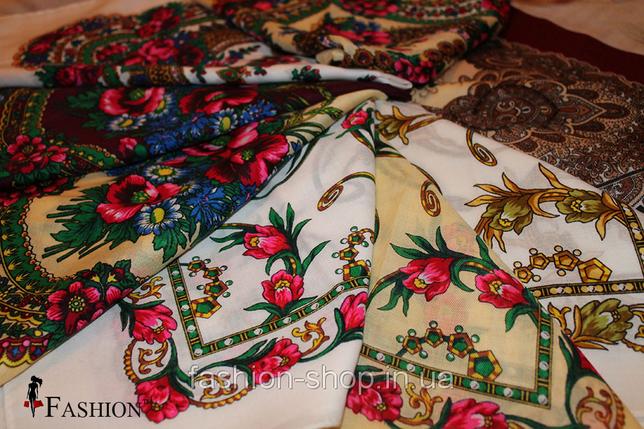 Кремова маленька хустка в українському стилі Стефанія, фото 2