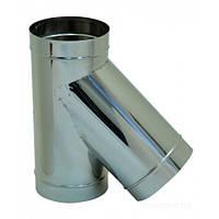 Тройник для дымохода из нержавеющей стали (одностенный)  d 100мм s 0,5мм α 45°