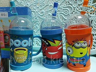 Детский стакан с трубочкой Винни Пух,Тачки,Миньон