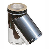 Тройник для дымохода из нержавеющей стали с теплоизоляцией d 125/185мм s 1/0,5мм α 45°