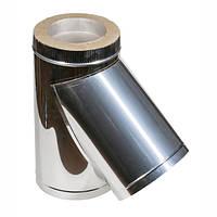 Тройник для дымохода из нержавеющей стали в оцинкованной кожухе с теплоизоляцией d 125/185мм s 0,5/0,55мм α 45°