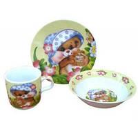 """Детская посуда фарфор 3 предмета """"Медвежонок"""""""