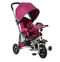 Детский трехколесный велосипед-коляска Crosser T350 надувные колеса Фиолетовый