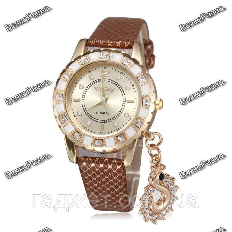 Стильные женские часы Kim Seng с подвеской в виде лебедя