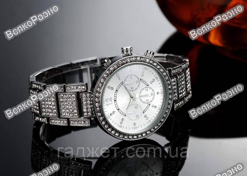 Женские часы Geneva silver (серебро)  Swarovski
