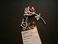 Серебряная булавка с роза с эмалью