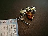 Серебряная булавка с янтарем натуральным Пчелка (жучок)