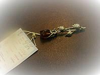 Серебряная булавка с янтарем натуральным Роза