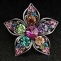[50/50 мм] Брошь светлый металл Цветок очень яркая с разноцветными большими  камнями