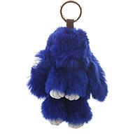 Брелок на сумку Кролик темно синий  (р-р 15 см без крепления) нат. мех кольцо-карабин