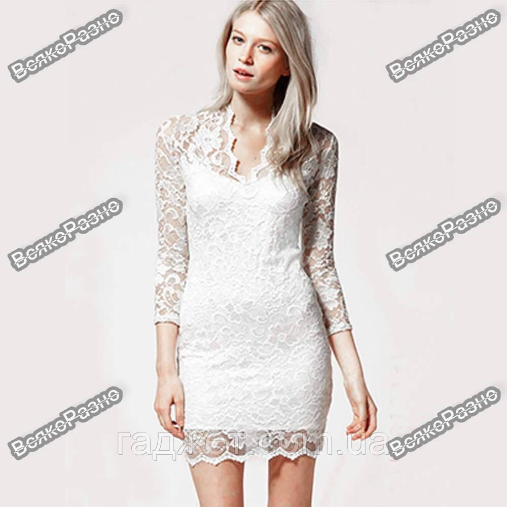 Кружевное сексуальное платье белого цвета