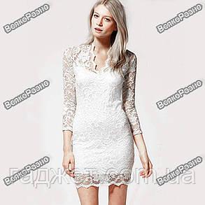 Кружевное сексуальное платье белого цвета, фото 2