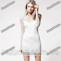 Кружевное сексуальное платье белого цвета, фото 3