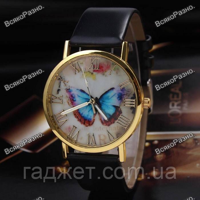 Женские часы с бабочкой черного цвета.