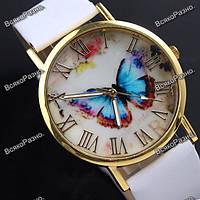 Женские часы с бабочкой белого цвета