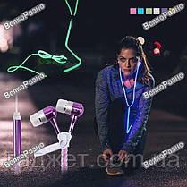 Наушники молния светящиеся фосфоресцирующие на молнии голубого цвета. Наушники. Вакуумные наушники., фото 2