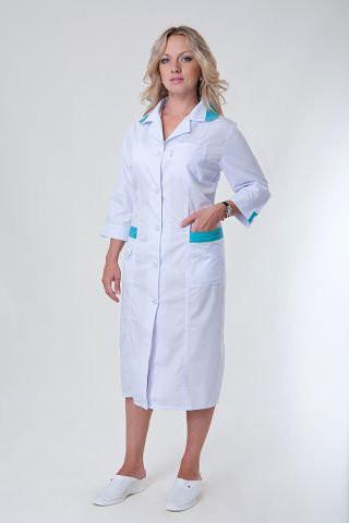 Длинный медицинский халат на пуговицах, с вставками, больших размеров