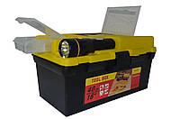 """Ящик для инструмента 16"""" с фонариком, пластиковый замок 395*220*200 мм"""