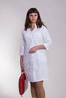 Белый медицинский халат до колен с длинным рукавом