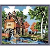 Картина раскраска по номерам на холсте - 40*50см Идейка MG142 Водяная мельница