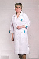 Габардиновый белый медицинский халат больших размеров