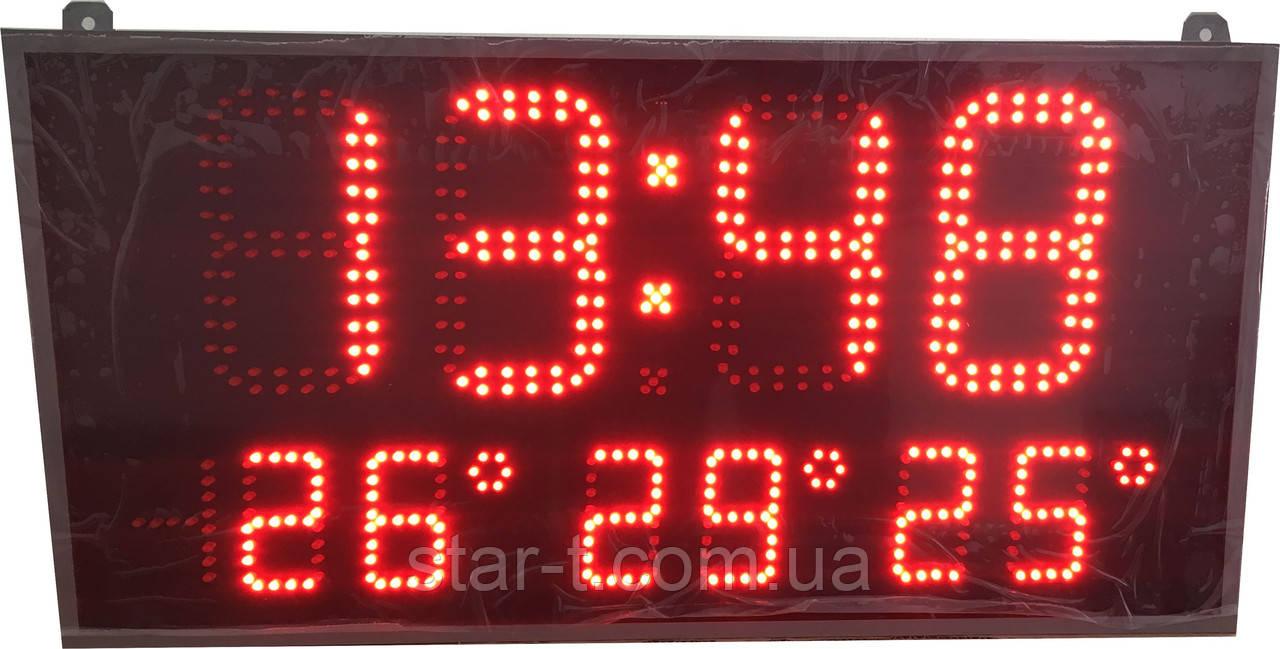 Часы календарь термометр на три зоны