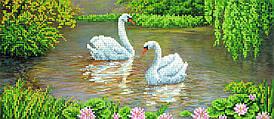 "Схема для вышивки бисером ""Лебеди"", 17х39 см"