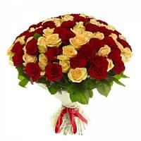 """101 красная и желтая роза """"2 в 1"""""""