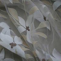 """Гардина """"Цветы молочно-бежевые"""" дэворе в. 2,8"""