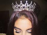 Круглая корона в серебре с красными камнями, диадема, тиара, высота 5,5 см., фото 6