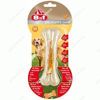 8in1 (8 в 1) Delights Strong Кость с куриным мясом Усиленная - лакомства для собак L - 20 см, M - 14,5 см - 98