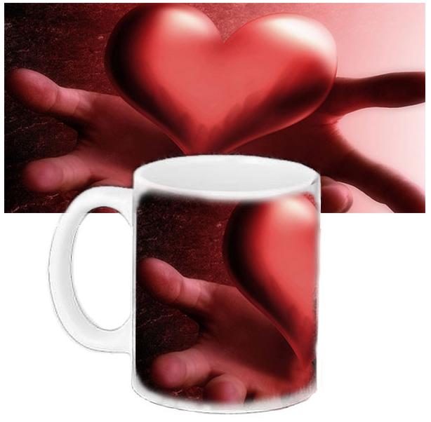 Кружка с печатью - Сердце в руках